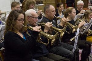 Publiciteitsfoto's repetitie bij Chr. Muziekvereniging Wilhelmina.